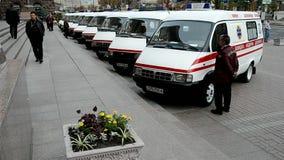 Automobili dell'ambulanza, amministrazione di stato della città di Kyiv, Ucraina, stock footage