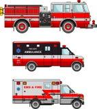 Automobili dell'ambulanza e del camion dei vigili del fuoco isolate su bianco Fotografie Stock