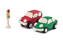Automobili della plastilina Fotografia Stock