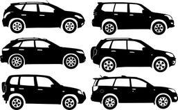 Automobili della siluetta, vettore fotografie stock