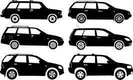 Automobili della siluetta, vettore Fotografia Stock