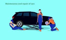 Automobili di riparazione e di manutenzione Immagini Stock