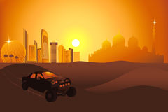 Automobili di safari nel deserto vicino alla città dell'Abu Dhabi Fotografie Stock