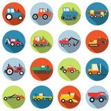 Automobili di scopo speciale ed icone di vettore del macchinario Fotografia Stock