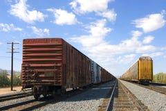 Automobili di trasporto che si siedono sulle piste Fotografie Stock Libere da Diritti