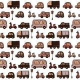 Automobili disegnate a mano variopinte del fumetto di scarabocchio di vettore Fotografia Stock Libera da Diritti