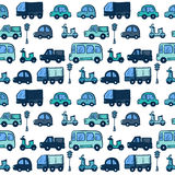 Automobili disegnate a mano variopinte del fumetto di scarabocchio di vettore Fotografie Stock Libere da Diritti