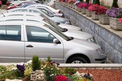 Automobili e fiori parcheggiati Immagini Stock Libere da Diritti