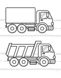 Automobili e libro da colorare dei veicoli per i bambini Autocarro con cassone ribaltabile, camion royalty illustrazione gratis
