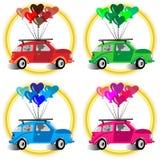 Automobili e palloni del cuore illustrazione di stock