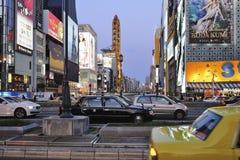 Automobili e traffico nella zona di Dotonbori Immagine Stock Libera da Diritti