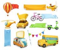 Automobili ed aeroplani con le insegne e le bandiere Immagini Stock