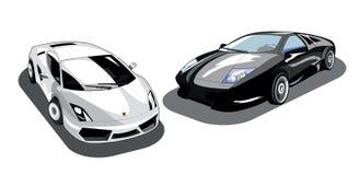 Automobili isolate in bianco e nero Immagini Stock Libere da Diritti
