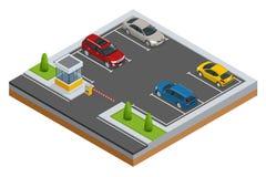 Automobili isometriche nel parcheggio del parcheggio o dell'automobile Stile piano isometrico di vettore dell'insegna di web di v Immagini Stock
