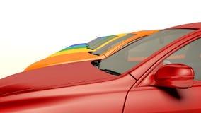 Automobili moderne in azione Automobili nuovissime del commerciante di automobile in una fila Fotografia Stock Libera da Diritti