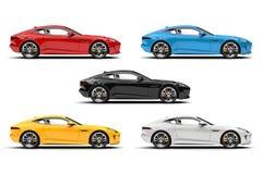 Automobili moderne di concetto di sport in rosso, blu, giallo, in bianco e nero illustrazione di stock