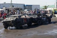 Automobili schiantate dopo il derby di demolizione Fotografie Stock Libere da Diritti