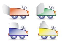 Automobili semplici del fumetto con le insegne di carta pieganti Fotografie Stock