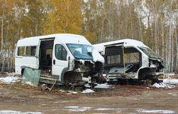 Automobili smontate dopo l'incidente Fotografia Stock