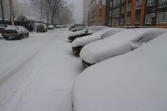 Automobili sotto la neve nell'iarda Immagine Stock