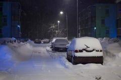 Automobili sotto neve Immagine Stock