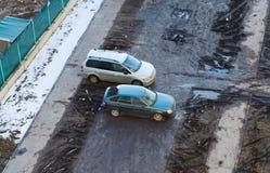 Automobili sporche nell'iarda Immagini Stock Libere da Diritti
