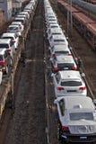 Automobili sulla consegna attendente 1 del treno Fotografia Stock