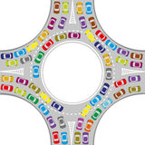 Automobili sulla rotonda Immagine Stock