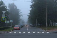 Automobili sulla strada durante la nebbia fotografie stock