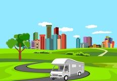 Automobill de remorque du vecteur 3d conduisant sur la route illustration stock