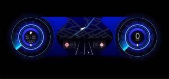 Automobilowa deska rozdzielcza przyszłość Hybrydowy samochód Diagnostycy i eliminacja awarie błękitny Hud styl niebieski obraz ni ilustracja wektor