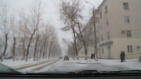 Automobilowy wiper czysty z śniegu od przedniej szyby zbiory