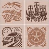 Automobilsportembleme - Sportwagenlogoillustration auf hellem Hintergrund Lizenzfreie Stockfotografie