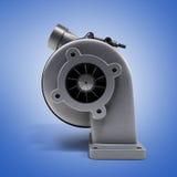 Automobilturboladerturbine 3d übertragen auf blauer Steigung stock abbildung