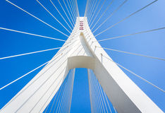 Automotive advertising background map. Cable-stayed bridge and a blue sky background Royalty Free Stock Photo