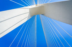 Automotive advertising background map. Cable-stayed bridge and a blue sky background Stock Image