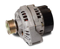 Automotive alternator. Isolated on white with clipping path stock images