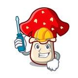 Automotive amanita mushroom mascot cartoon. Vector illustration Royalty Free Stock Images