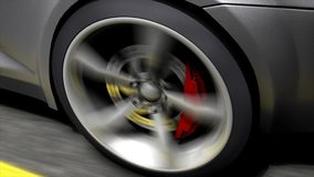 Automotive animation, close-up spinning rear car wheel stock footage