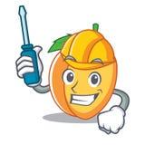 Automotive apricot mascot cartoon style. Vector illustration Royalty Free Stock Photo