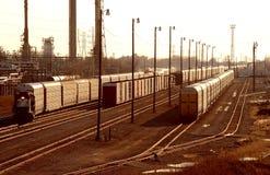 Automotive area Railyard Detroit. Auto train cars in yard at sunrise Royalty Free Stock Photos