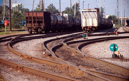 Automotive area Railyard Detroit. Auto train cars in yard at sunrise Royalty Free Stock Photo