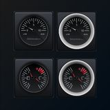 Automotive or aviation instrument panel instruments, on a dark background.The images of the devices are grouped. Analog devices. V royalty free illustration