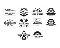 Automotive badges collection. Is an emblem-shaped symbol, insignia badge associated with automotive Stock Photo