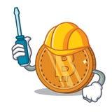 Automotive bitcoin coin character cartoon. Vector illustration Royalty Free Stock Photo