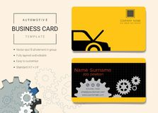 Automotive business card or name card template. Automotive business card or name card template, Simple style also modern and elegant with car service and repair royalty free illustration