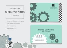 Automotive business card or name card template. Automotive business card or name card template, Simple style also modern and elegant with abstract gears machine royalty free illustration