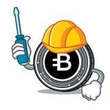 Automotive Bytecoin coin mascot cartoon. Vector illustration Stock Images