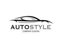 Automotive car logo design with abstract sports vehicle silhouet Royalty Free Stock Photography