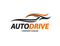 Automotive car logo design with abstract sports vehicle silhouette Stock Photos